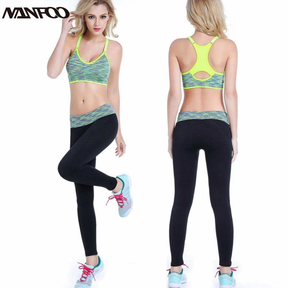 caa2c2cbec 2019 Women Sport Bra Pants Set Fitness Gym Running Set Yoga Tights Quick  Drying Compression Trousers Sets Slim Legging T Back Bra From Shinny33