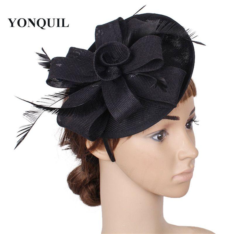 8d938242a1569 2018 Elegant Lady Fascinator Headbands Black Fabric Flower Pillbox Hat  Wedding Cocktail Married Headwear With Quill Bridal Headdress SYF54 Cream  Wedding ...