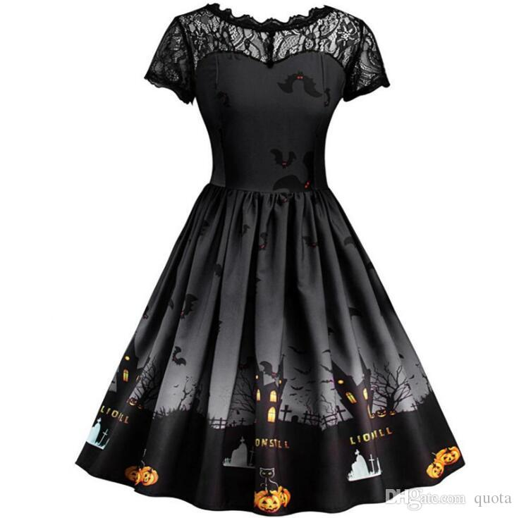 Sexy Women Short Sleeve Halloween Retro Lace Vintage Dress A Line Pumpkin Swing Dress Party Costume