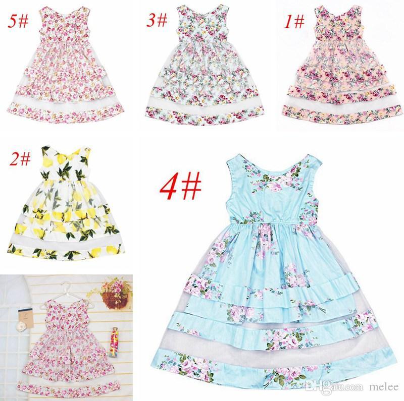 c246b0afc 2019 INS Summer New Baby Girls Floral Beach Tutu Dress Summer Lemon ...
