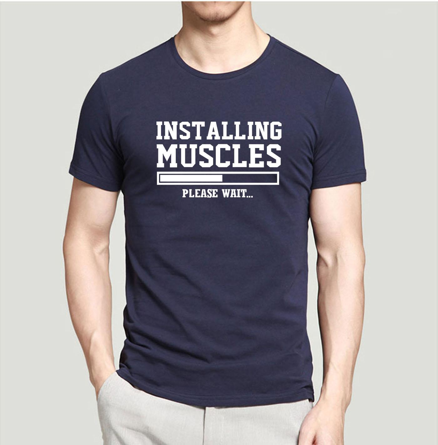 487b943b9 Funny Men T Shirt Installing Muscles Letters 2018 Summer Casual Crossfit  Fitness 100% Cotton High Quality Top Tees Summer O Neck It Tee Shirts As T  Shirt ...