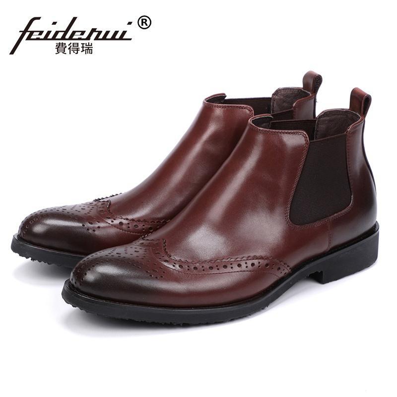 2e098cf016d British Genuine Leather Handmade Man Formal Dress Brogue Shoes Round Toe  Designer Men s Cowboy Martin Ankle Boots JS134
