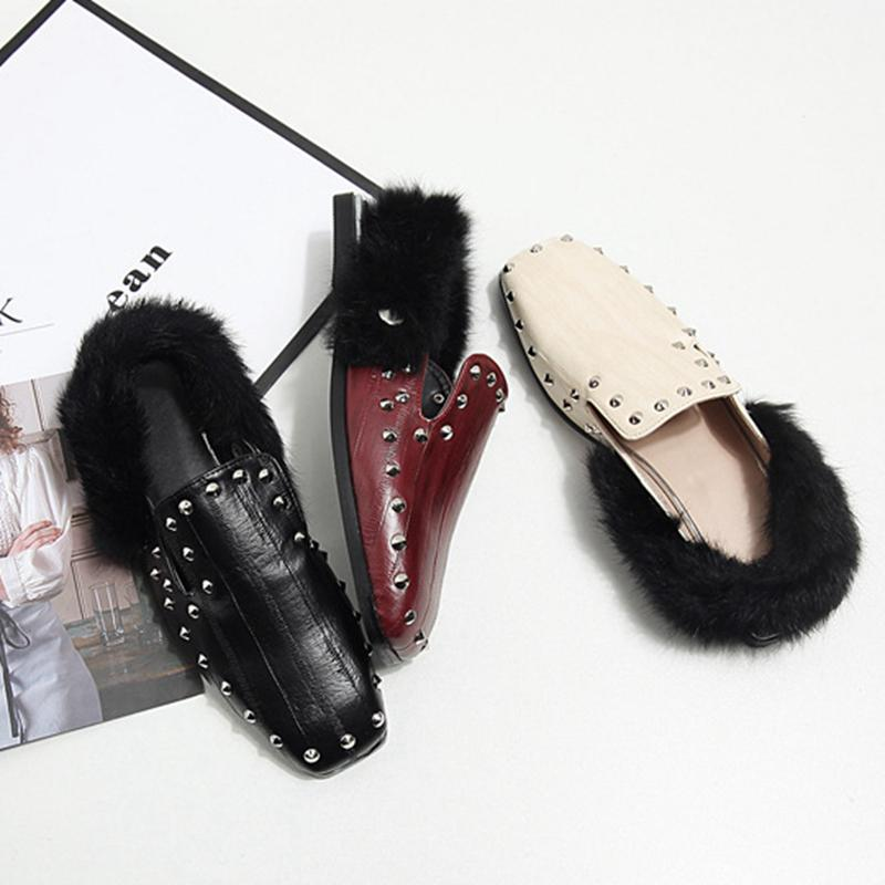 2017 New Fashion Women Slippers Square Toe Rivet Half Slippers Tear Genuine Leather Rabbit Fur Flat Shoes Retro British Style