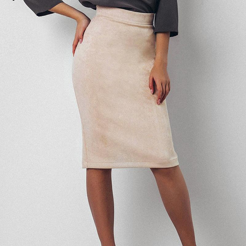 3e898f4a4e7 2018 Women Skirt Winter Solid Suede Work Wear High Waist Package Hip Pencil  Midi Skirt Autumn Sexy Bodycon Femininas Online with  36.65 Piece on  Wanglon05 s ...