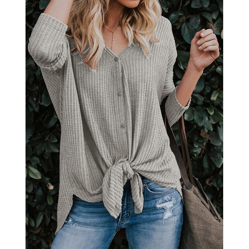 92bd5ef1 2019 Casual Fall Knitted Knot Buttons Down Up Shirt Women'S Fashion Solid  Color Long Sleeve Blouse From Fullmark100, $8.8 | DHgate.Com