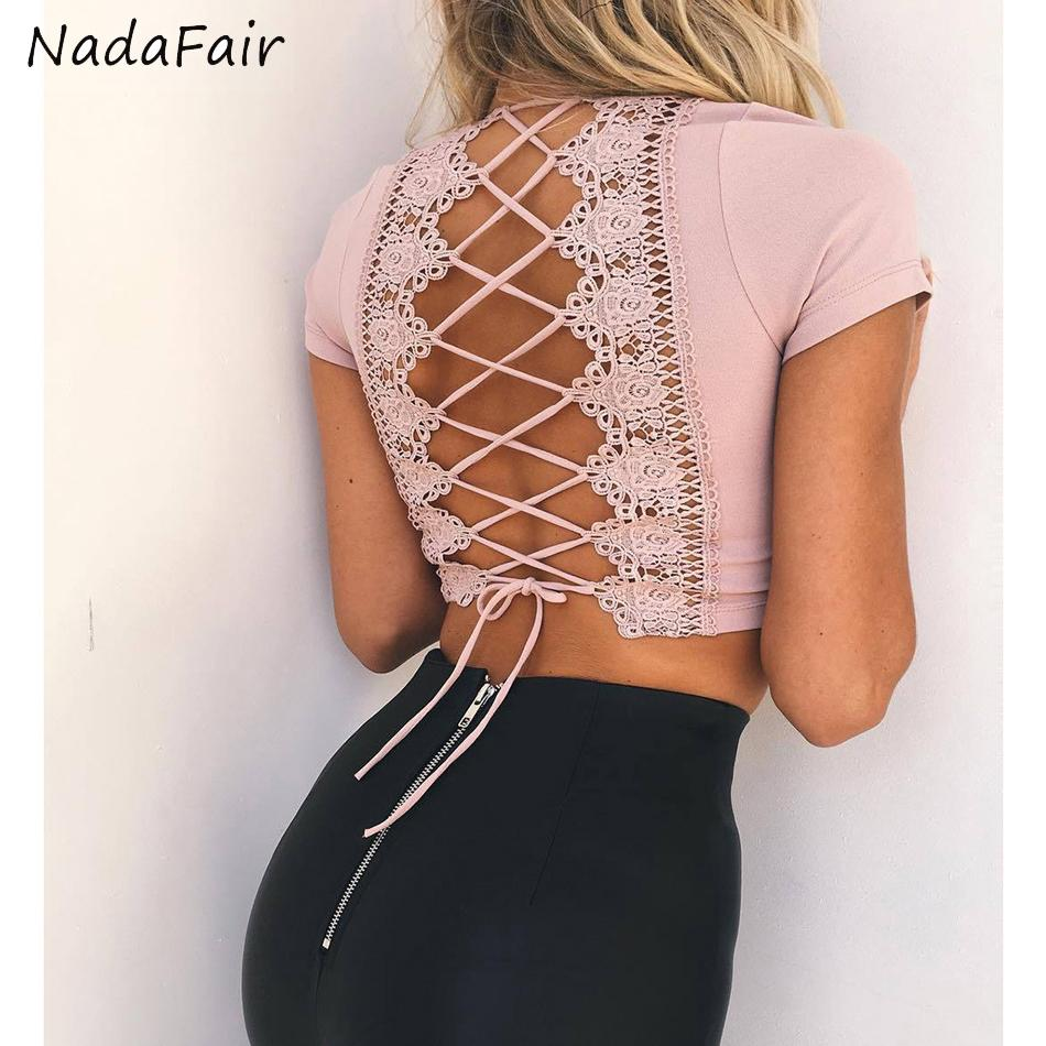 7075ae77b1e5b6 Nadafair V Neck Short Sleeve Lace Out Cross Sexy Crop Tops 2017 Summer  White Black Pink Sexy T Shirt Blue Jacket Womens Leather Jacket From  Z6241163