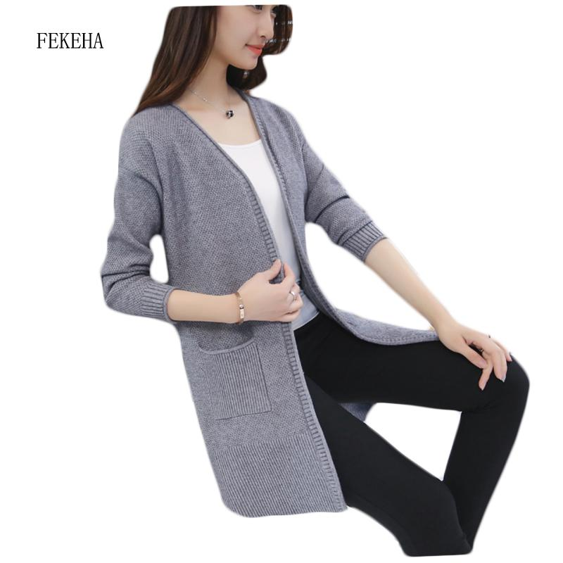 2019 Autumn Long Sweater Coat For Women Cardigans Sweaters Knitted Camisola  Winter Knitwear Laides Tops Black Red S XL From Liangcloth c7ca92815
