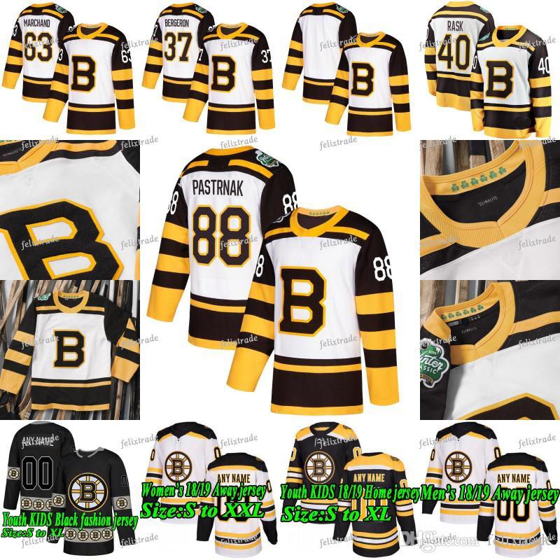 ee1ddee265e Acquista 2019 Winter Classic Boston Bruins David Pastrnak Patrice Bergeron  Brad Marchand Zdeno Chara Brandon Carlo Rask Krug Charlie McAvoy Maglie A   30.46 ...