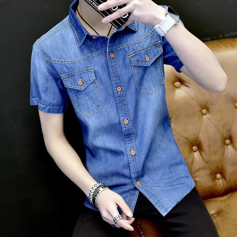 c00a1c117b00 2019 VERMSA 2018 Korean Fashion Short Sleeve Casual Denim Shirt Men Summer  Slim Fit Quality Cotton Social Shirts Camisa Masculina 5XL From Xaviere