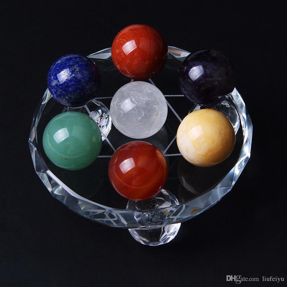 الطبيعية 7 قطع الكريستال الكرة شقرا الكوارتز سفير شفاء جوهرة ستون الخرز فنغشوي ديكور زجاج حامل