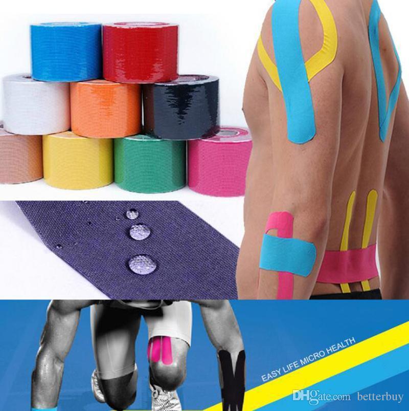 2018 5cm x 5m Kinesiologia Rotolo Cotone Elastico Adesivo Muscolo Fasciatura Strain Injury Support Neuromuscolare Sport Nastro Protettivo DHL Libero