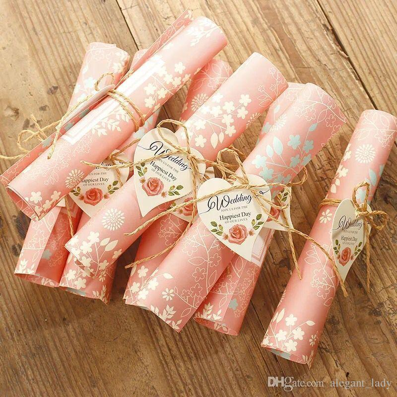 2018 Papel clásico europeo Corte por láser rubor rosado Tarjetas de invitaciones de boda Invitación personalizable con hoja interior en blanco y caja