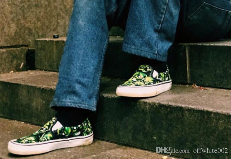 X 18SS Schädel-Stapel-Beleg auf grün Schädel mit einer niedrigen Hilfe für Männer und Frauen Schuhe 36-44.