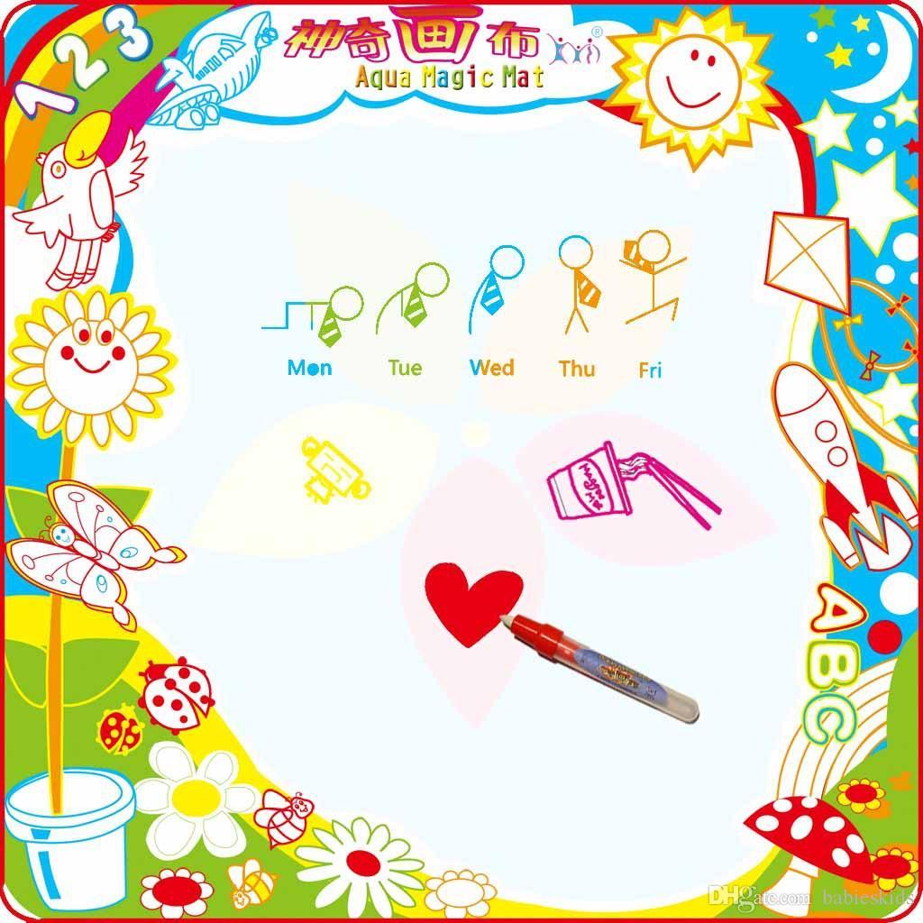 Baby Kinder Wasser hinzufügen mit Magic Pen Doodle Malerei Bild Wasser Zeichnung Spielmatte Papier in Drawing Intelligence Toys Board