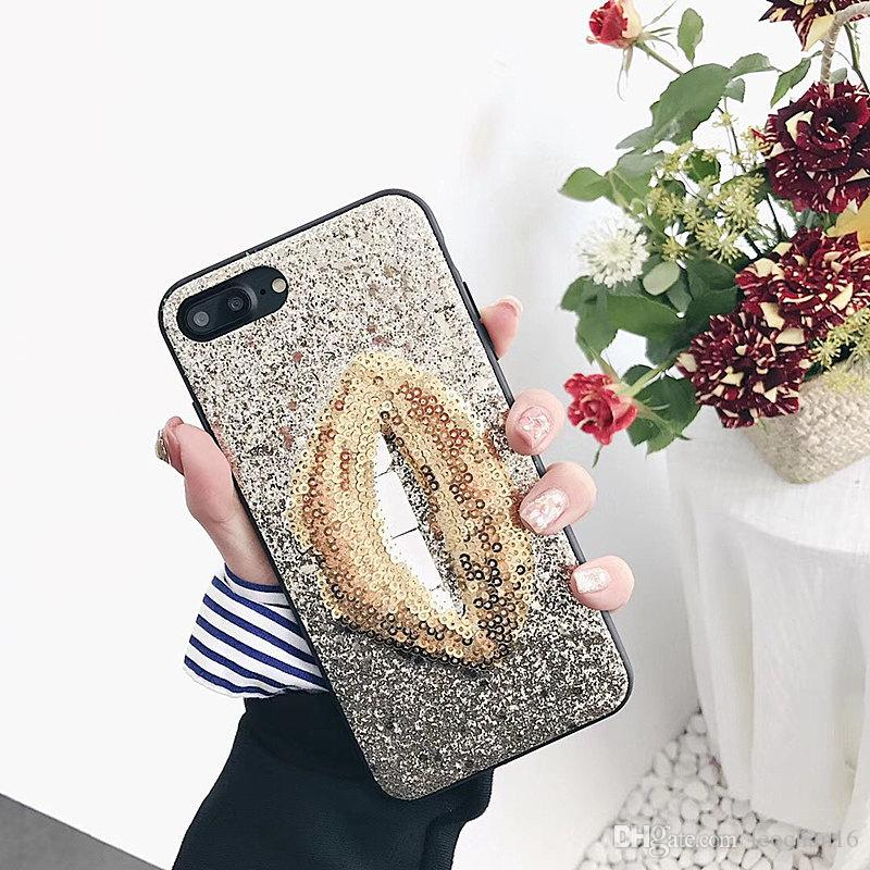 3D Lips Bling Back Case Glitter Paillette Phone Cover Sequins Tide Brand for iPhone XS Max XR 6s 7 8 Plus 6.5