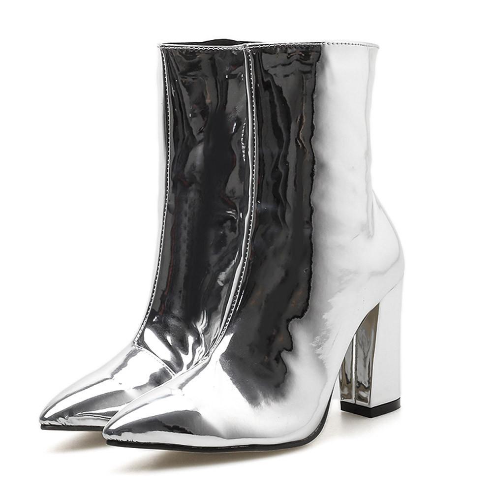 kinder neueste das Neueste SAGACE Damenstiefel 2018 Bright Leather Thick Pointed Short Boots Martin  Damen Seitlicher Reißverschluss Heels Oc5
