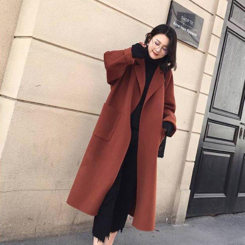 73a2f5712 LANMREM 2018 Autumn Winter Belt Woolen Overcoat Woman Loose Long Sleeve  Adjustable Waist Patchwork Turn-down Collar Coat TA558