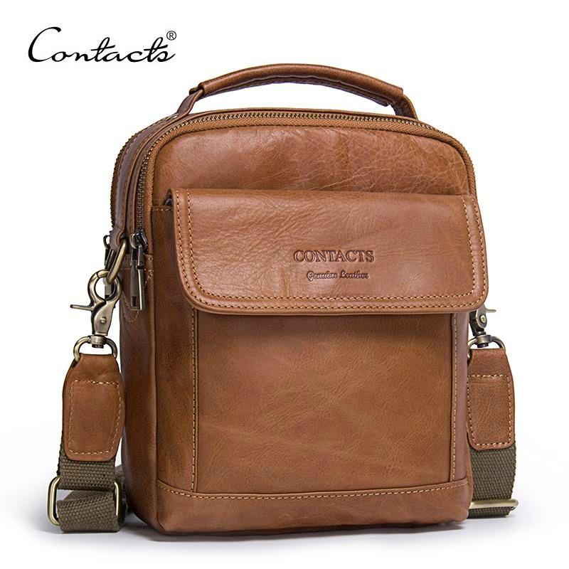 b890caa34531 CONTACT'S Genuine Leather Shoulder Bags Fashion Men Messenger Bag Small  ipad Male Tote Vintage New Crossbody Bags Men's Handbags