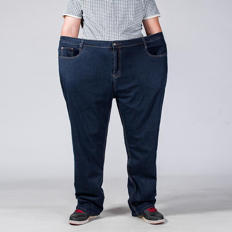 7af2fe29fbf61c Acquista Super Plus Taglia 44 46 48 50 52 Jeans Da Uomo Tessuti  Elasticizzati Grandi E Grandi Pantaloni Larghi Jeans Larghi Uomo Fatty  Denim Pnats 8628 A ...