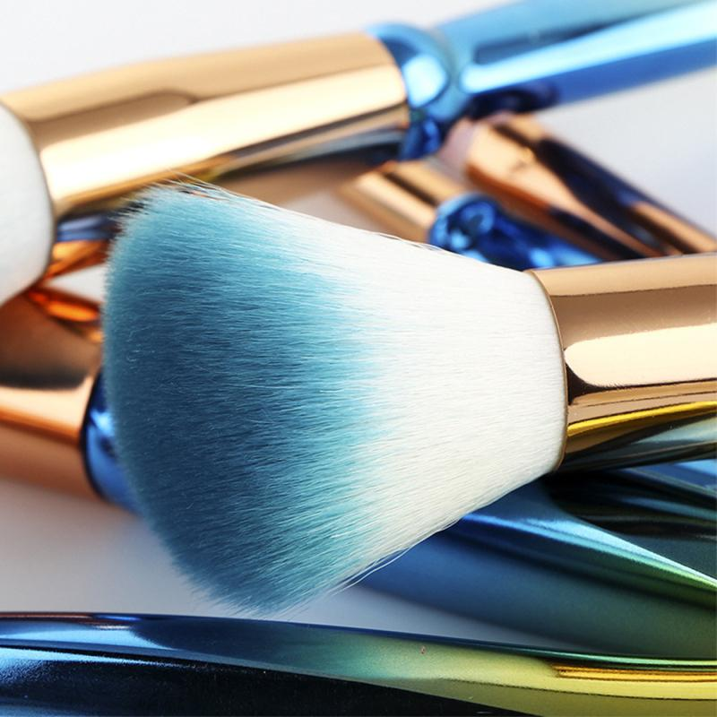 7 adet Hazine Mavi Degrade Makyaj Fırça Kapatıcı Fırça Kaş Fırçası Makyaj Aracı Komple Set 20 * 3 cm S848
