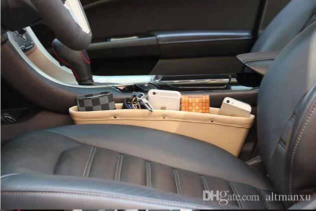PU Leather Catch Catcher Box Caddy Seggiolino auto Slit Gap Pocket Storage Guanto Box Organizer Slot Box in pelle libri Schede telefoniche