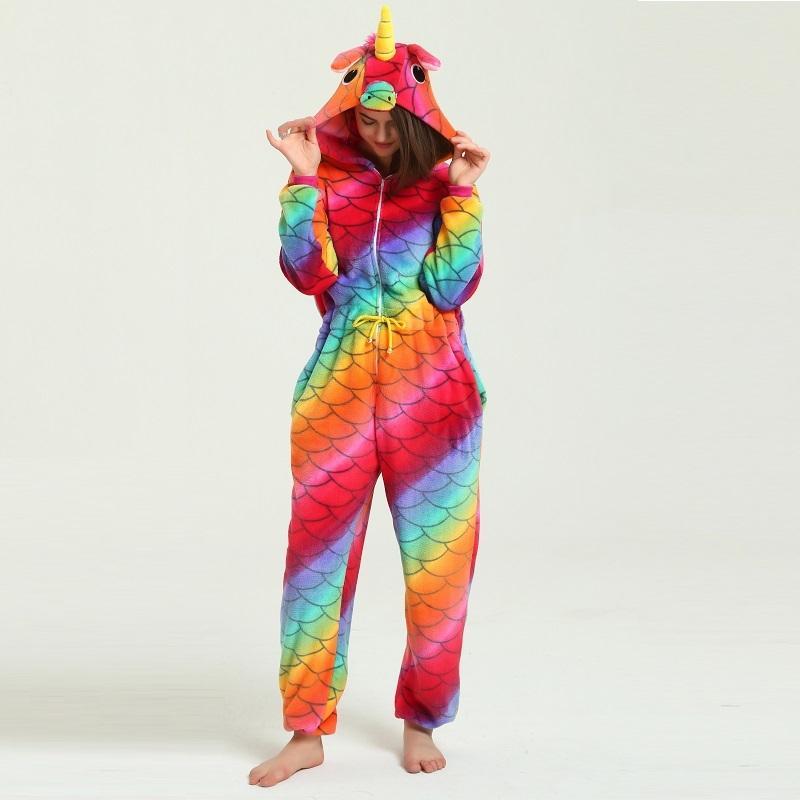 48f38f381bec 2019 Cute Hooded Kigurumi Adult Sleepwear For Women Unicornio ...