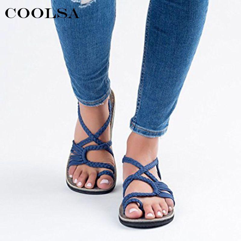 02ba64239d5 COOLSA New Fashion Women Flat Sandals Denim Fabric Rubber Hand Weave Sandal  Elastic Band Female Soft Outdoor Casual Beach Shoes Knee High Gladiator  Sandals ...