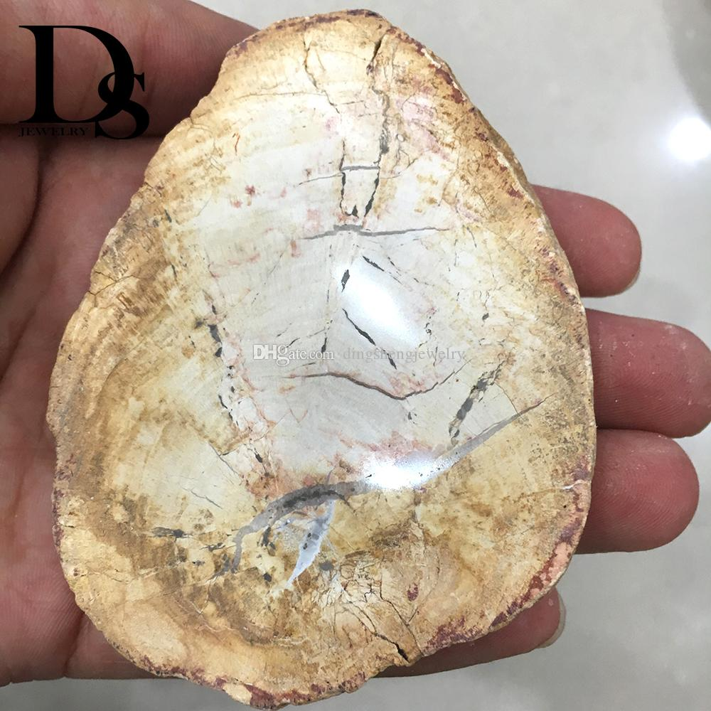 Natural Xylopal Fossil Slice Plate Crystal Tree Wooden Jade Woodstone Coaster Madagascar Mineral Cup Mat Specimen Home Table decoration