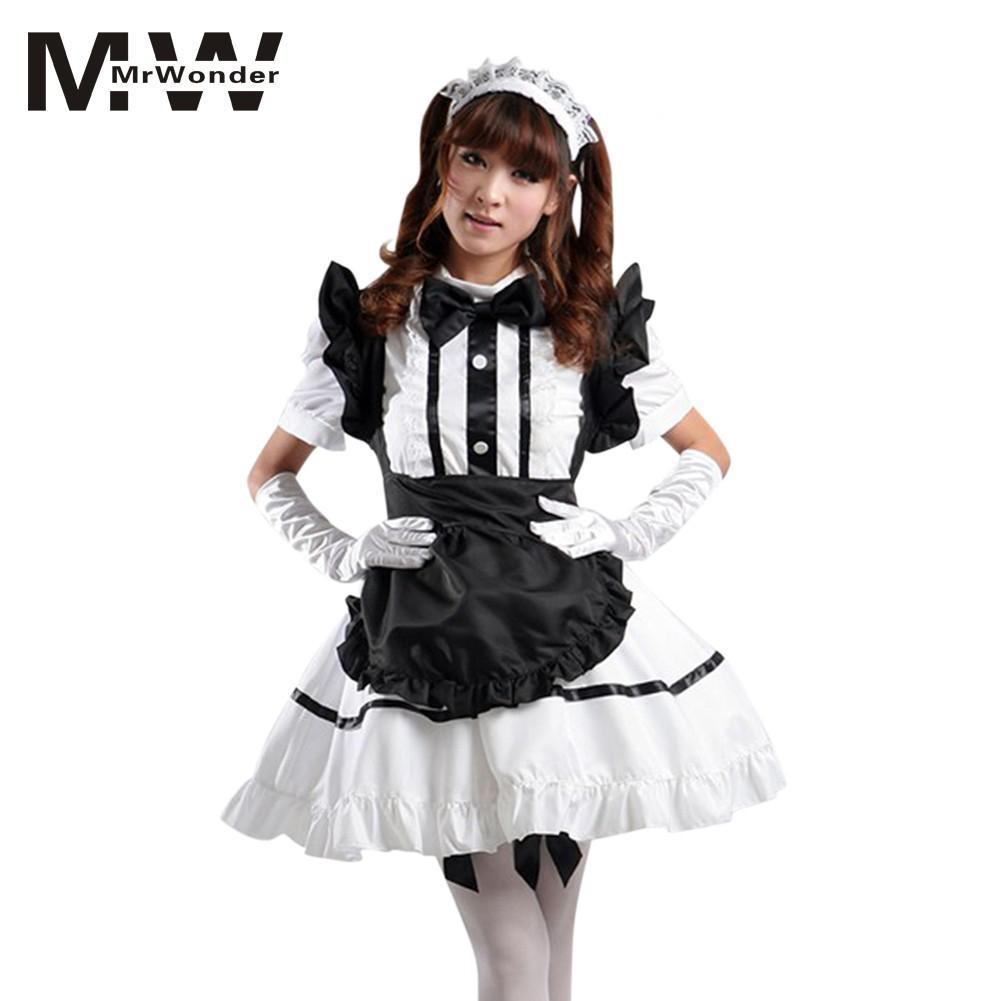 Mrwonder Maid Cosplay Dress Suits Cute Sexy Cosplay Housemaid Costume Set  Service Girl Uniform Coffee Shop Clothes SAN0 Team Costume Themes Halloween  Party ... 0bf05285eb92