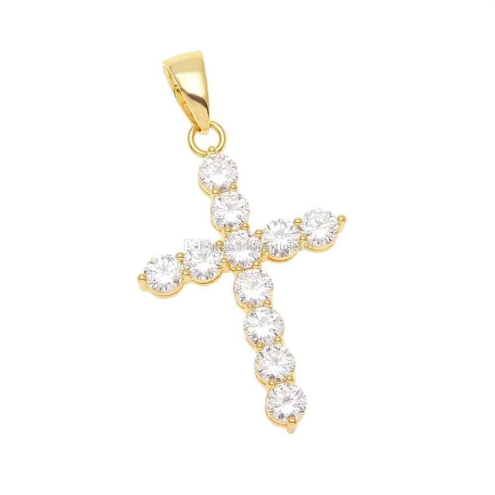 Hip Hop silver gold plated necklace jewelry women wedding fashion Cross CZ Cubic Zircon stone pendant necklace