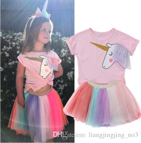 cc6ac9032c7 Baby Girls Unicorn Top T-shirt Rainbow Lace Tutu Tulle Skirt Outfits ...