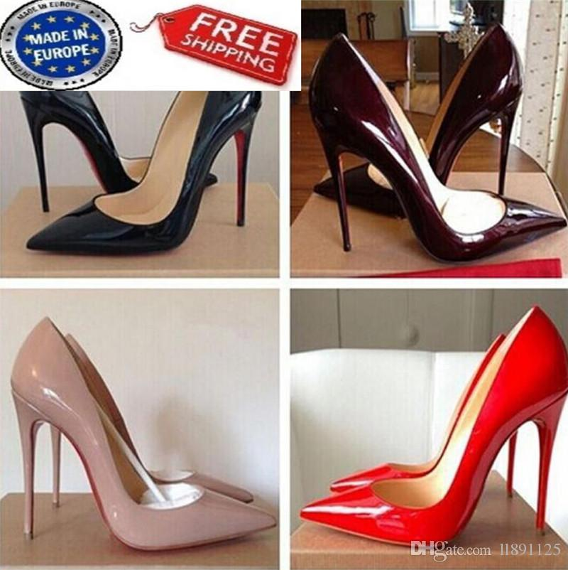bcfc5e0d42e Free Shipping So Kate Styles 8cm 10cm 12cm High Heels Shoes Red Bottom Nude  Color Genuine Leather Point Toe Pumps Rubber