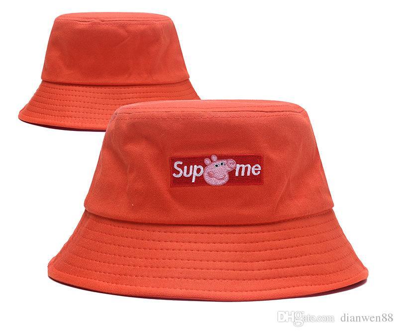 698d1035ba1 New Summer Beach Bucket Sun Hat Women Luxury Box Logo Stingy Brim ...