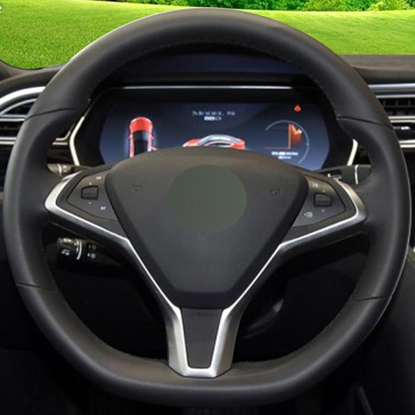 Diy Hand Stitched Black Genuine Leather Car Steering Wheel Cover For