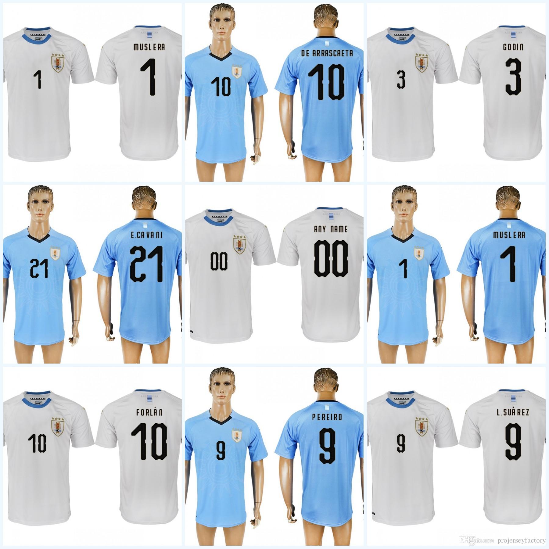 618376e79 Stitched Mens Uruguay 2018 World Cup Soccer Jersey 9 L.SUAREZ 21 E ...