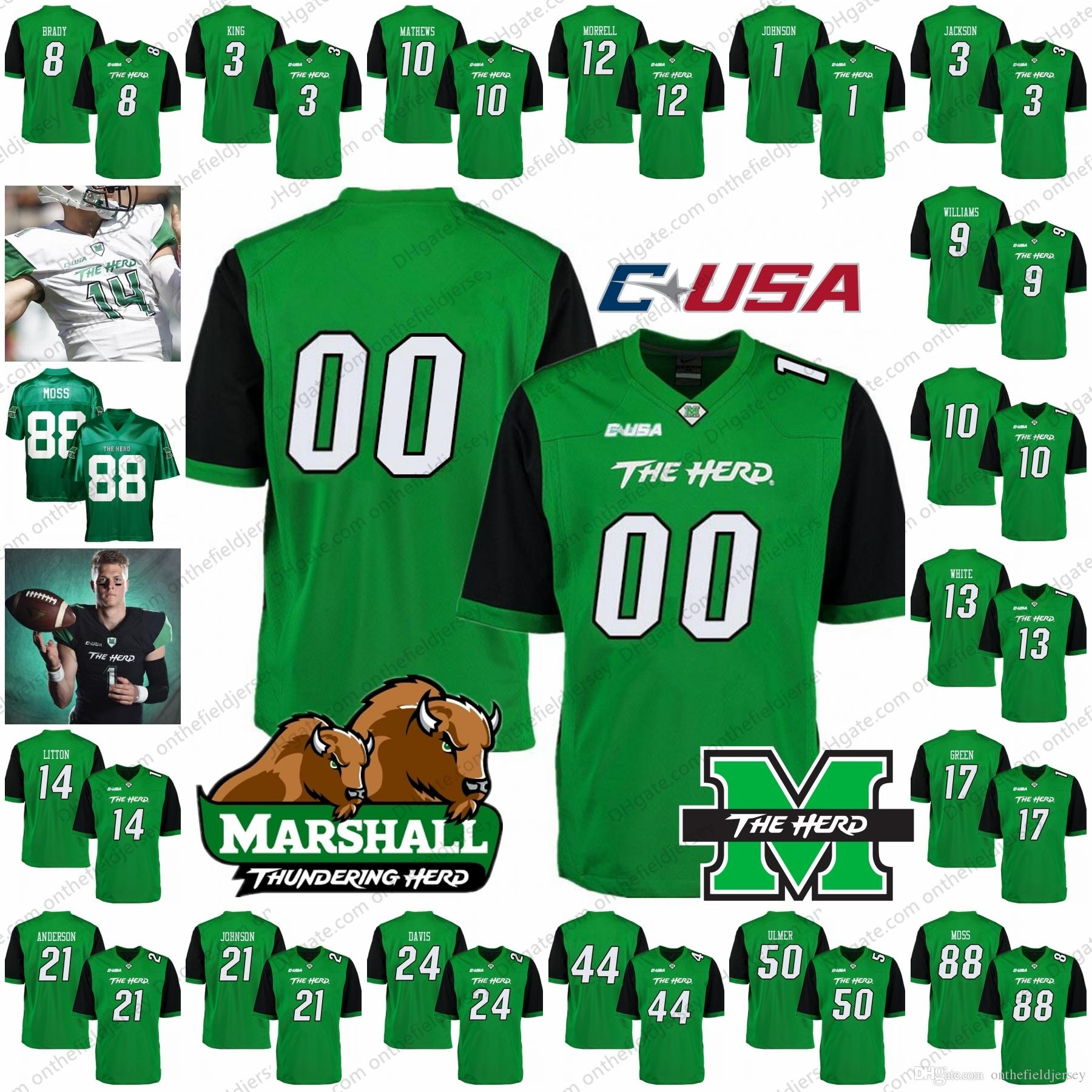 924328f35 Custom Marshall Thundering Herd NCAA College Football Jersey Any Name  Number  3 Tyler King 14 Chase Litton 17 Isaiah Green White Black S 4XL UK  2019 From ...