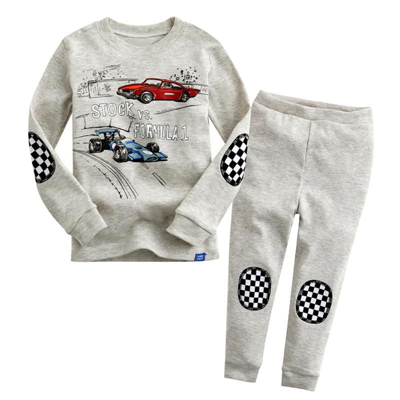 187b446dc215 2019 Racing Car Kids Cotton Boys Pajamas Sets Long Sleeve Top + ...