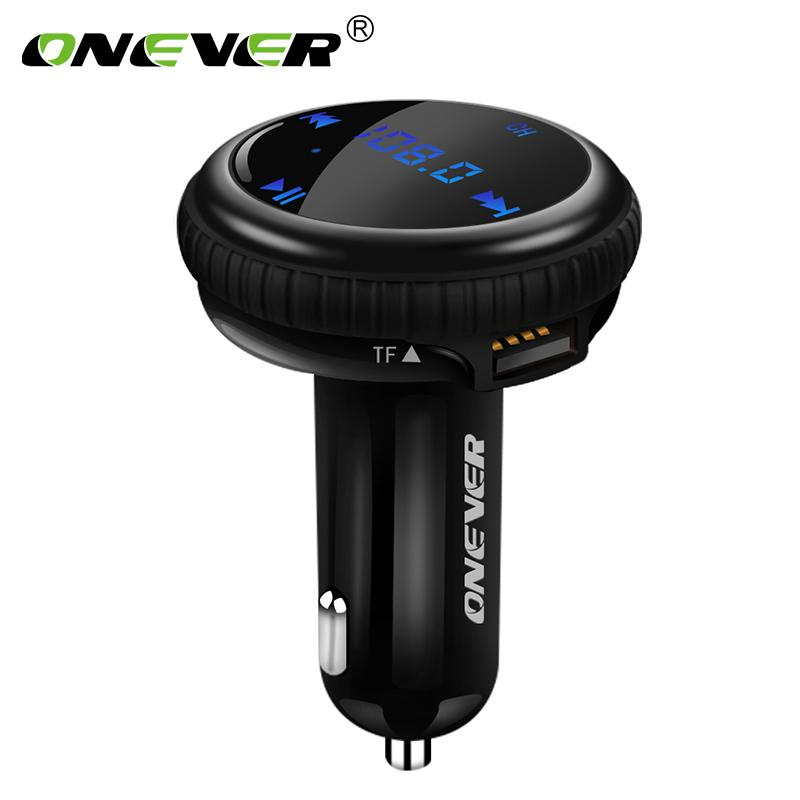 Onever FM Transmitter Bluetooth Modulator Hands Free Car Kit with Car GPS Location Tracking Car MP3 Audio Player USB Charger LED