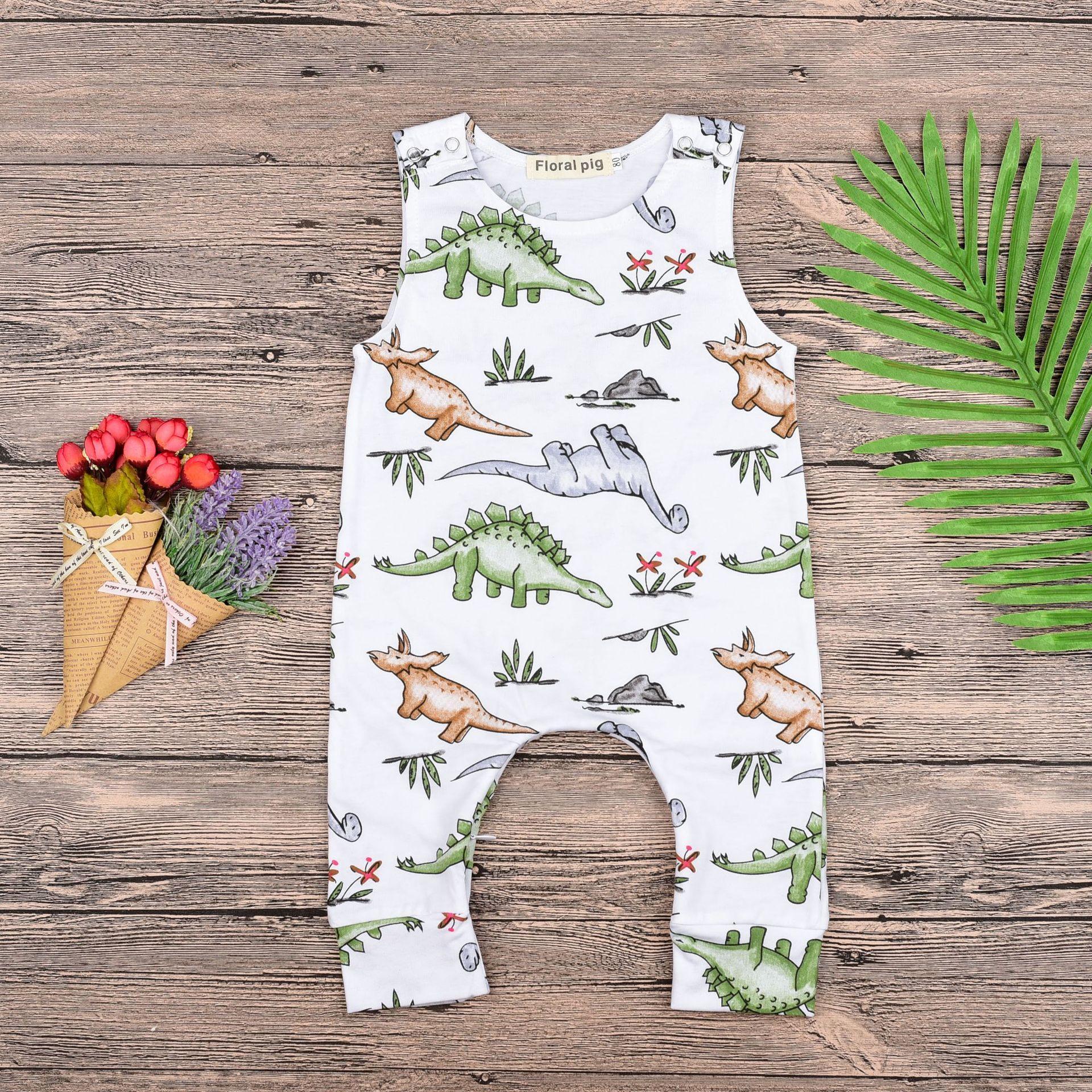 Everweekend Everweekend Sevimli Bebek Dinozor Baskı Tulum Güzel Çocuklar Beyaz Renk Batı Moda Toddler Bebek Yaz Pamuklu Giysiler