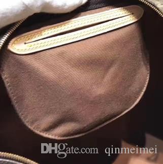 Real oxidante lona de couro damier flor carta impressão sacos de almofadas damier flor carta impressão speedy25 30 35 com alça de bloqueio