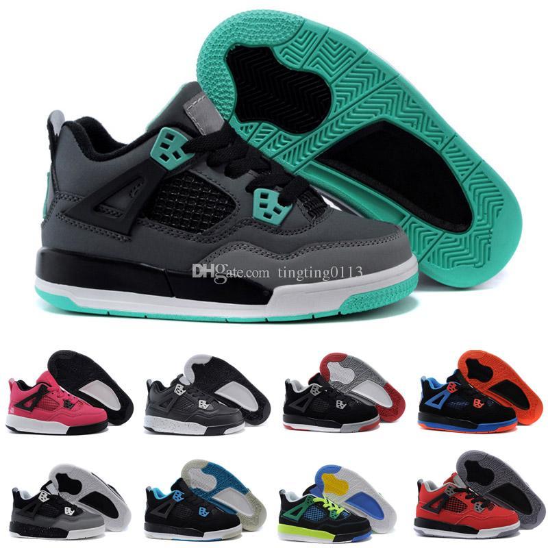 online retailer 2f360 73a2f Acquista 2018 Nike Air Jordan 4 13 Retro Kid Young 4 All Star Kid Donna Uomo  Scarpe Da Basket Di Alta Qualità 4s IV Nero Bianco Oro Bambini Bambini ...