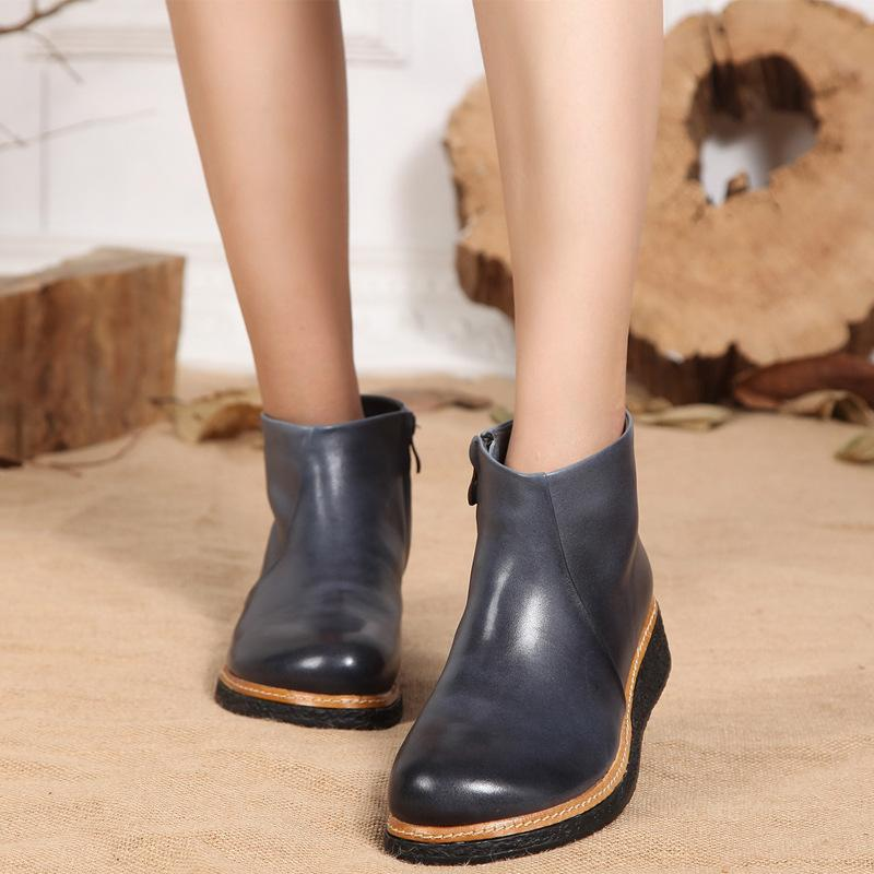 8d140e8799b Cow Leather Wedge Booties Lady 2018 New Arrival VALLU Women Ankle Booties  Solid Motorcycle Female Boots Shoes Plush Size 41 Heels Boot From  Shoes1122