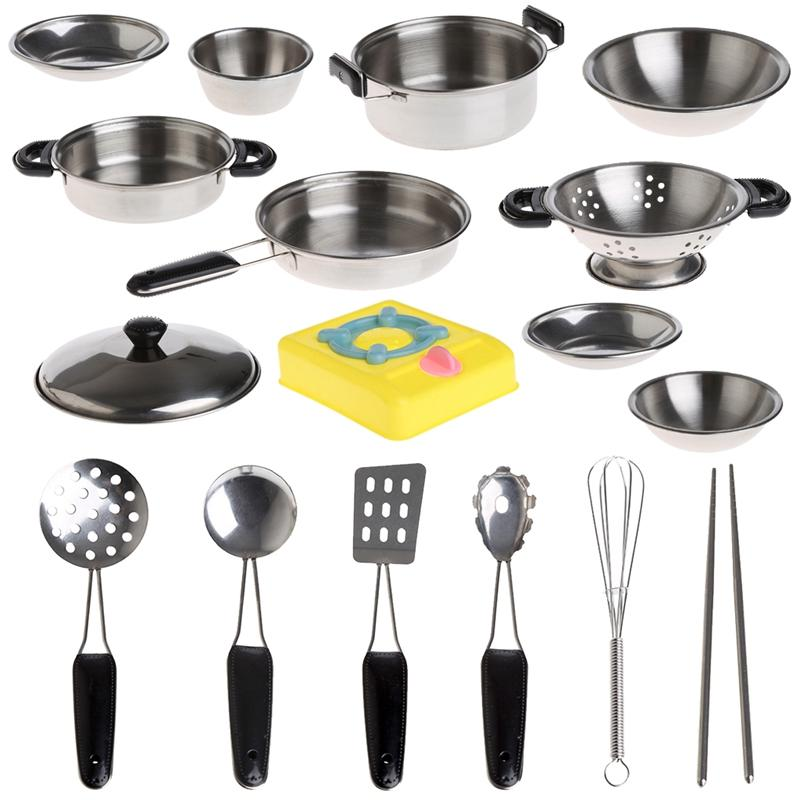 2019 Stainless Steel Pretend Play Kitchen Cookware Pots Pans And