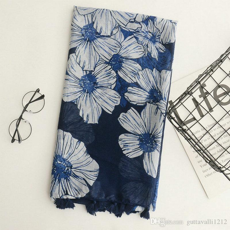 Guttavalli Women Blue Galsang Flowers Tassels Long Shawl Female Cotton Geometric Scarf Bohemia Fashion Skinny Chevron Scarves