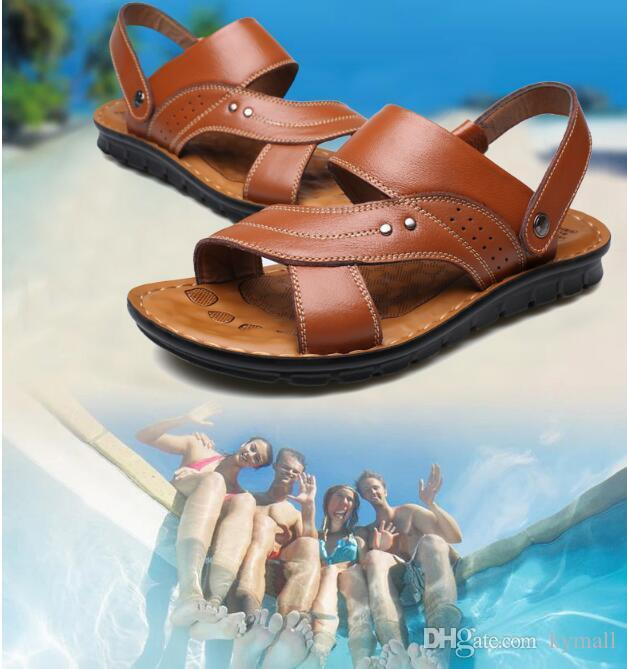 d18469ff85da Hot With Box Summer Beach Shoes Mens Leather Sandals Slippers Leather First  Layer Of Leather Tendon Slip Tide Size US7 US9 Ig Reef Sandals Gold Shoes  From ...