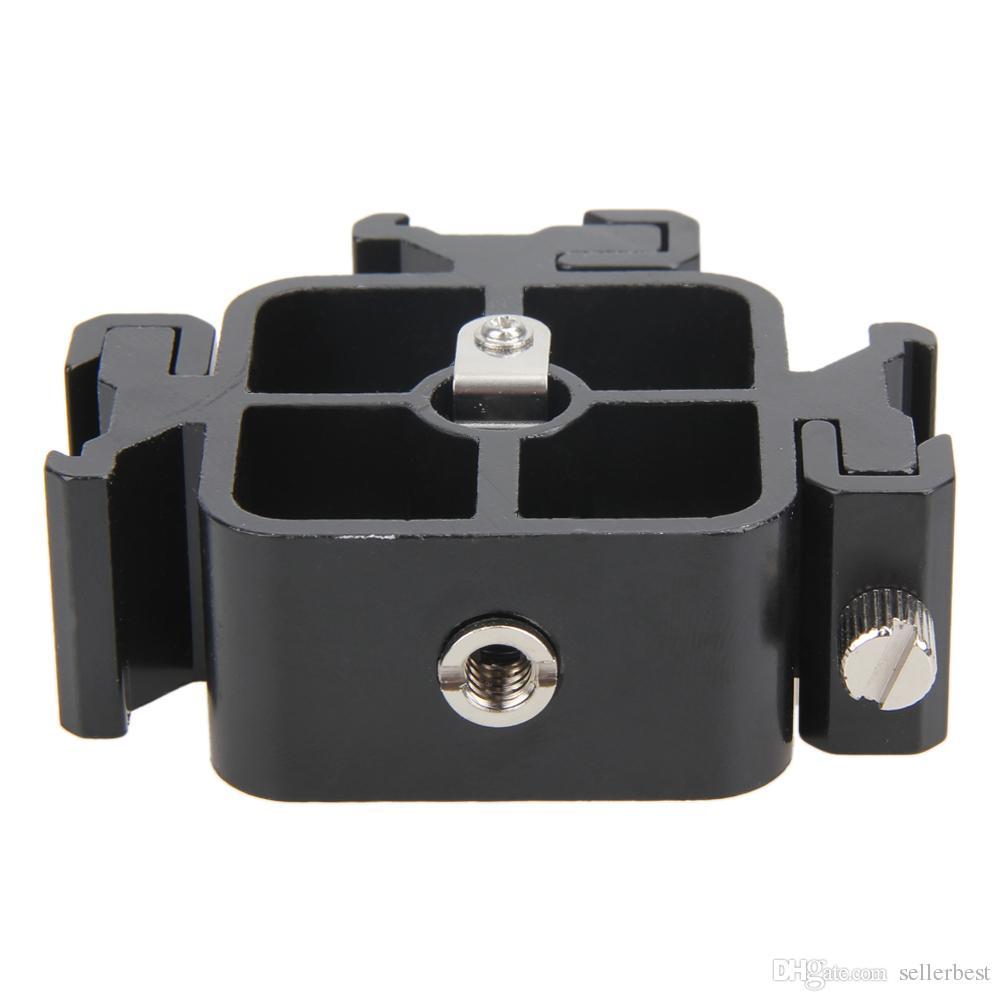 ALLOET 3 in1 Triple zapato caliente Todo el metal Zapato Adaptador de montaje para Flash Holder Bracket Soporte de luz Soporte de paraguas Holder