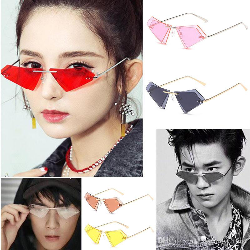 Triangle Eye Mens Sunglasses Shades Eyewear Retro Cat Fashion Women Uv400 Rimless Rj53AL4