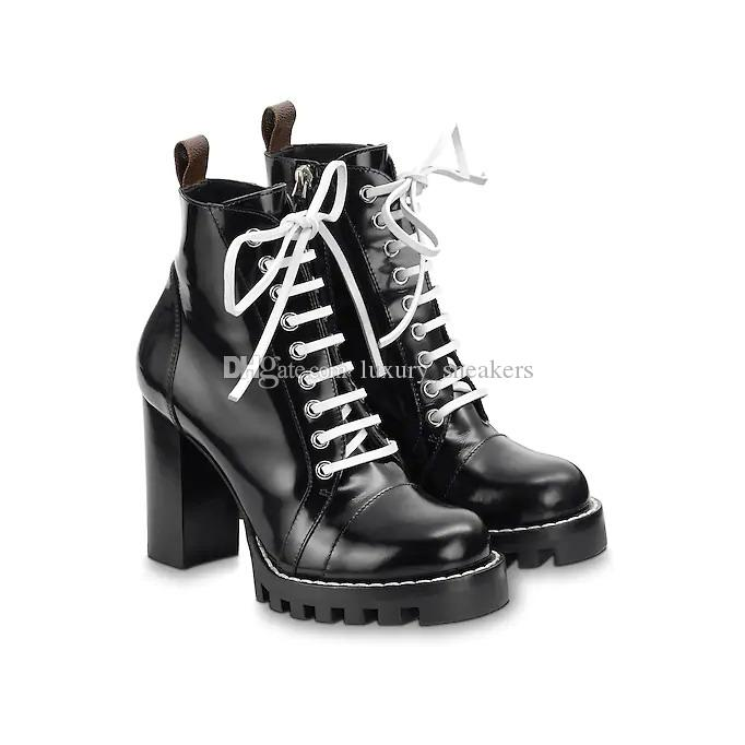 92e8c337bf55 Luxury Women Leather Star Trail High Heel Shoes Fashion Lace Up Ankle Boots  White Black Brown Size 35 41 Black Ankle Boots Wedge Shoes From  Luxury sneakers