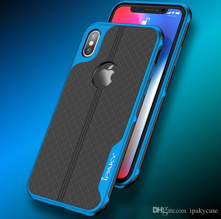 new styles 3f32e c9abd iPaky Case For iPhone X Electroplate PC Frame TPU Back Cover Drop-proof  Antiskid Thin Slim 2 In 1 Cases With Retail Package In Stock