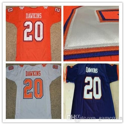 new arrival 764d2 dcafd Men s Clemson Tigers jerseys #20 Brian Dawkins jersey orange White Blue  American ncaa College Football Jerseys Embroidery jersey size S-3XL
